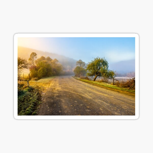 road  near forest in foggy mountains at sunrise Sticker