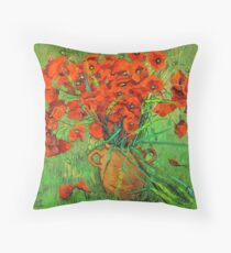 Jug  with red poppies in green grass Throw Pillow