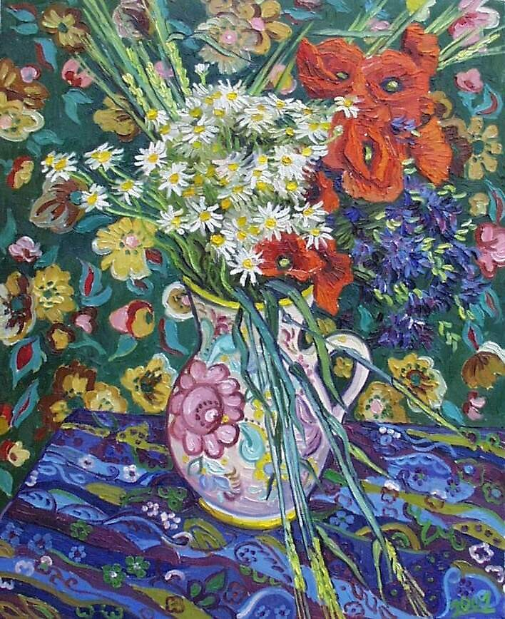Bouquet of chamomiles and poppies with patterned fabric by Vitali Komarov