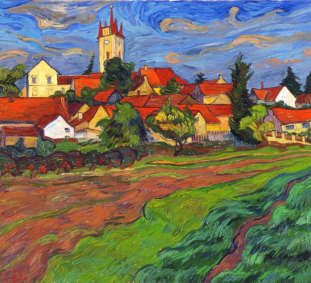 Village with red roof tiles by Vitali Komarov