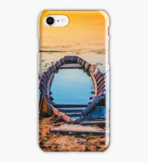 Beautiful abandoned old boat at sunset with water reflections wallpaper iPhone Case/Skin