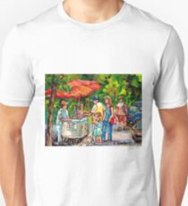 CANADIAN LANDSCAPE PAINTING TREESCAPE MONT ROYAL ICE CREAM CART AT BEAVER LAKE MONTREAL PARK SCENE T-Shirt