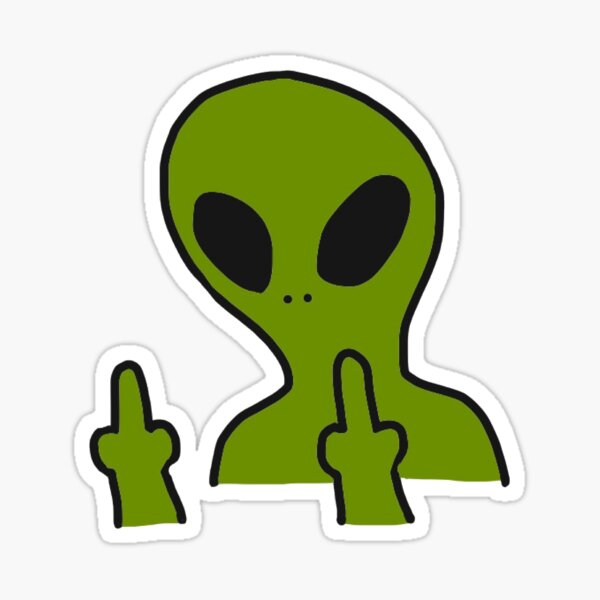 Middle Finger Alien Sticker