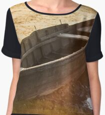 Beautiful abandoned old boat at sunset with water reflections Women's Chiffon Top