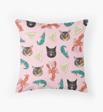 Aussie Cats on Pink Throw Pillow