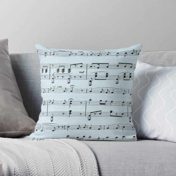 Antique Sheet Music Blue  Throw Pillow