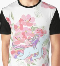 Retro style Illustration with flowers and animal Graphic T-Shirt