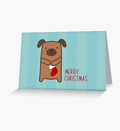 Stocking Dog Greeting Card