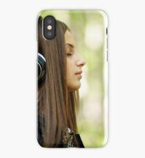 Girl listening music outdoor iPhone Case/Skin