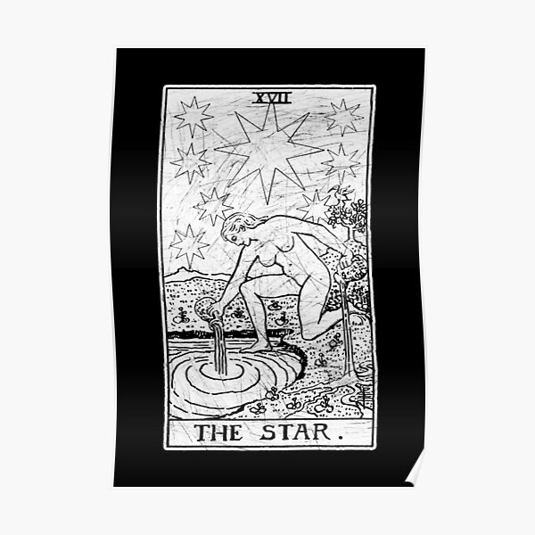 The Star Tarot Card - Major Arcana - fortune telling - occult Poster