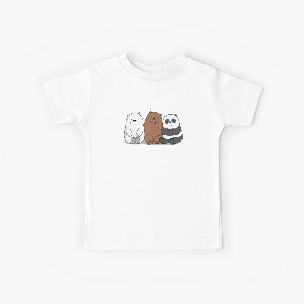 Bare Bears Cartoon - Baby Bear Cubs - Grizz, Panda, oso de hielo Camiseta para niños