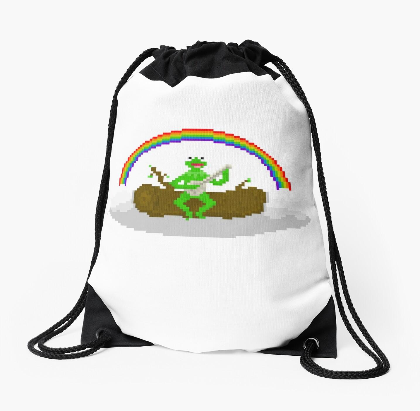 Kermit The Frog Pixel Art Drawstring Bags By Pixelshorts Redbubble
