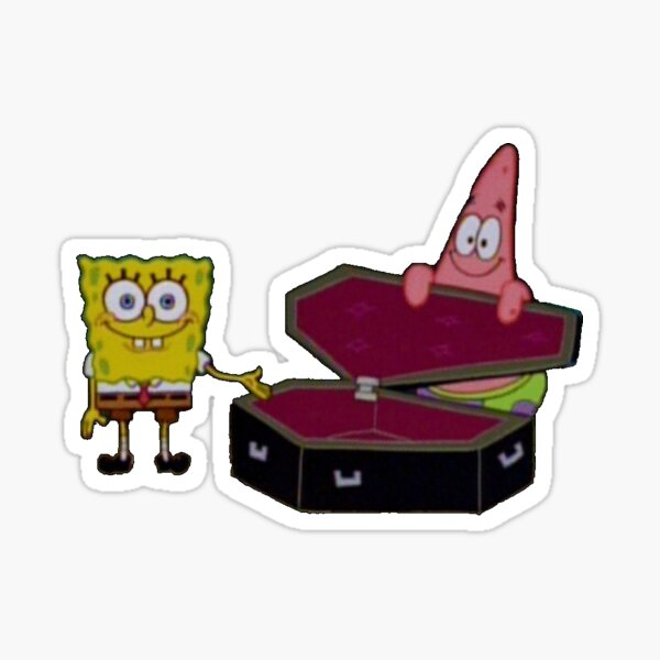 "Spongebob Patrick Coffin ""Okay, get in"" Sticker"