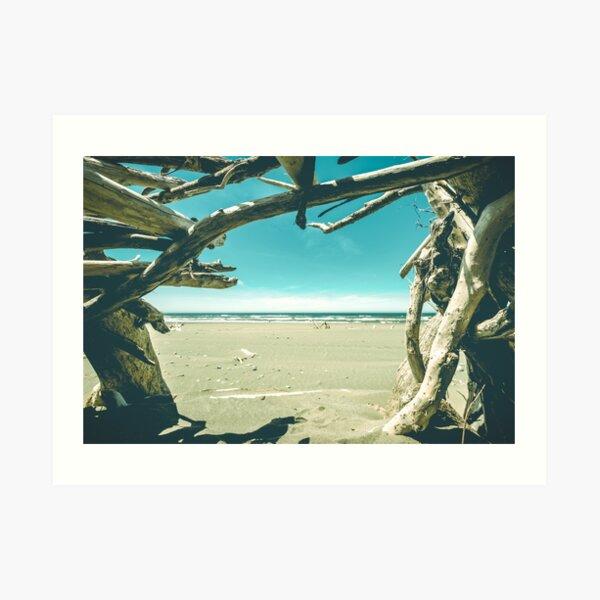 Beach Hut - Summer Time Blue Art Print