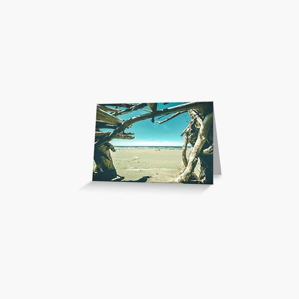 Beach Hut - Summer Time Blue Greeting Card