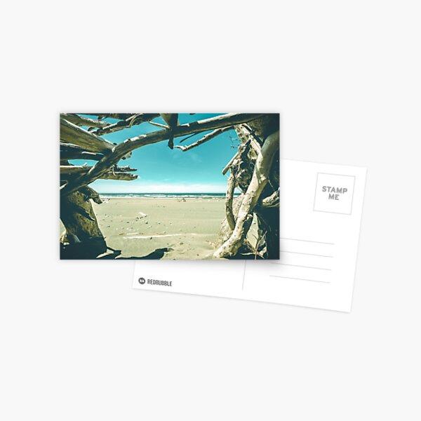 Beach Hut - Summer Time Blue Postcard