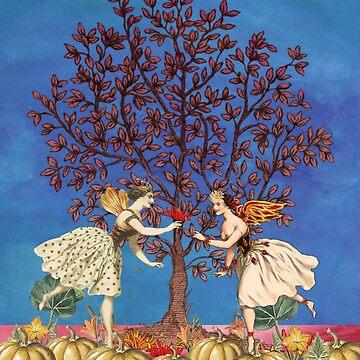 Vintage Fairy Autumn Pumpkin Dance by wensteve