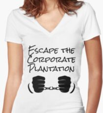 Escape The Corporate Plantation - Black Print Women's Fitted V-Neck T-Shirt