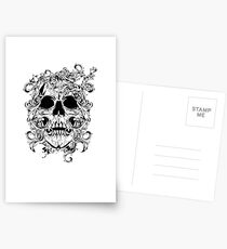 Flashy Tattoo Ink Font Skull Design Postcards