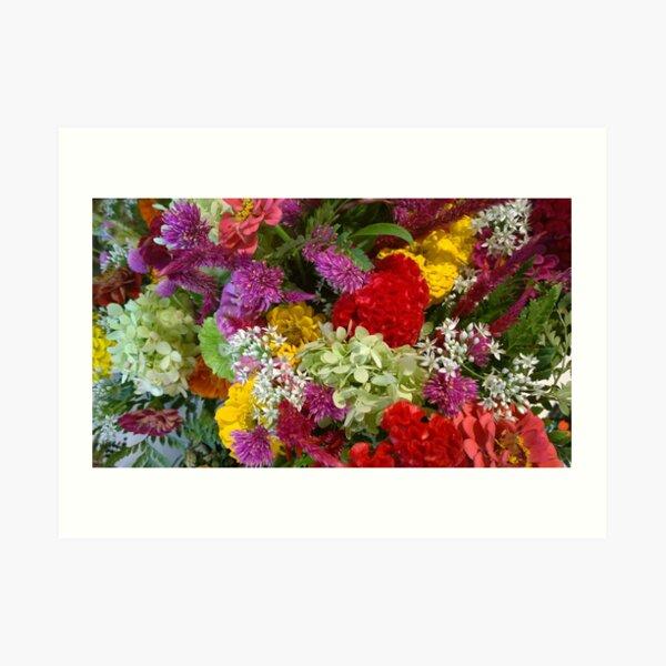 Floral Bouquet-Aster-Cock's Comb-Zinnia Art Print