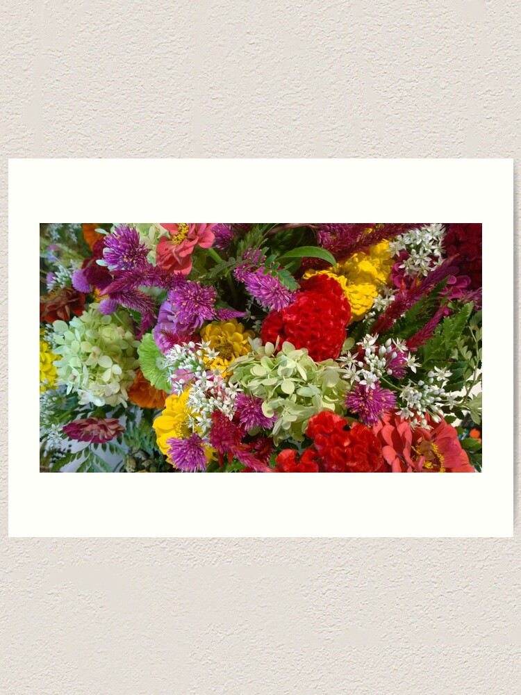 Alternate view of Floral Bouquet-Aster-Cock's Comb-Zinnia Art Print