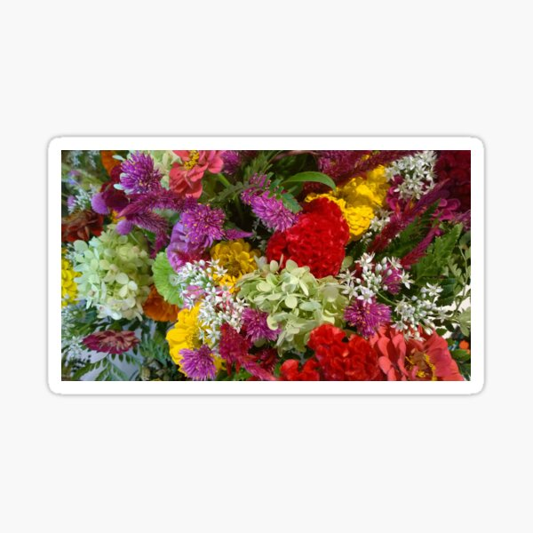 Floral Bouquet-Aster-Cock's Comb-Zinnia Sticker