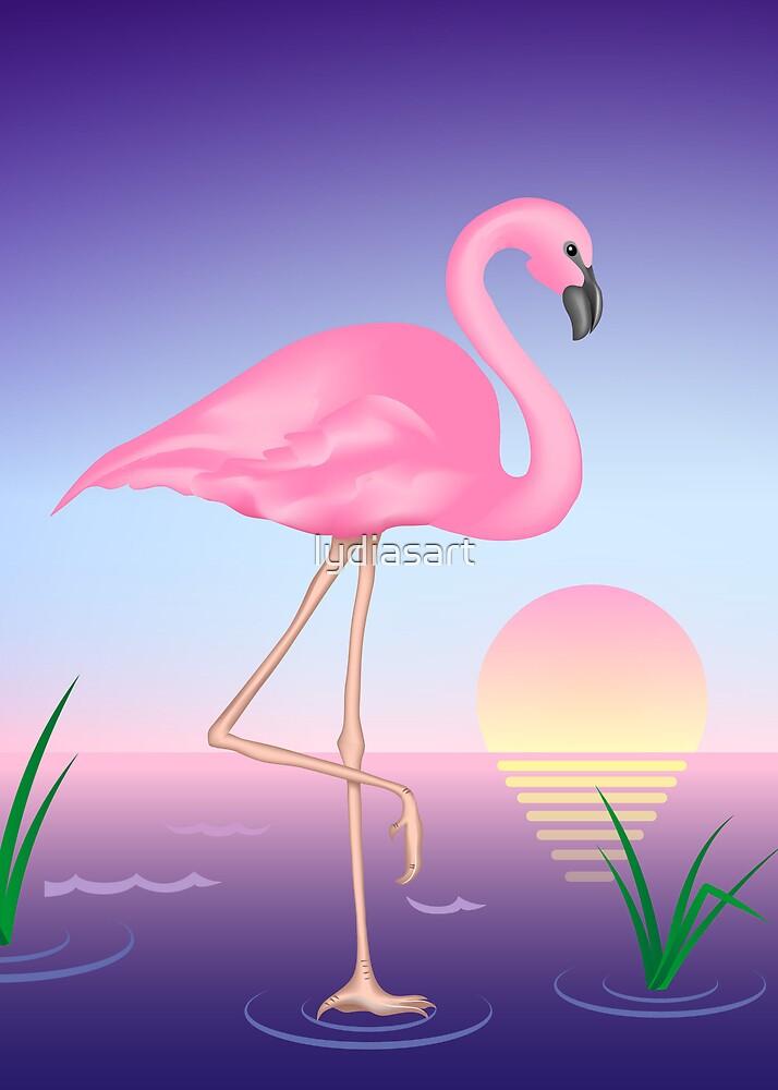 Pink Flamingo by lydiasart