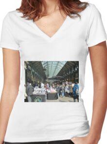 Covent Garden fruit market Women's Fitted V-Neck T-Shirt