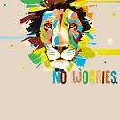Colorful Lion Head - No Worries by Weldon Fultz
