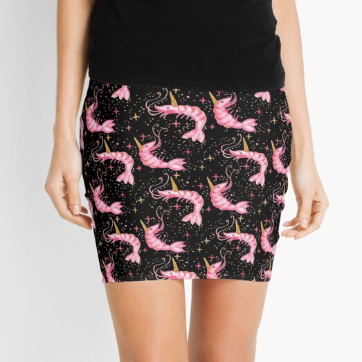 Uni-Prawn In Space - Black Mini Skirt