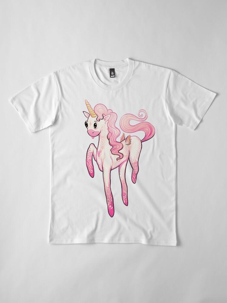 Alternate view of Super Cool Pink Unicorn Premium T-Shirt