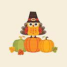Thanksgiving-Eule in Truthahn-Kostüm auf Kürbissen von daisy-beatrice