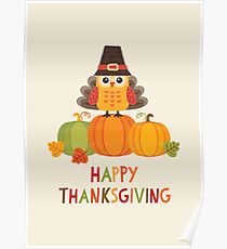 Thanksgiving Owl in Turkey Costume on Pumpkins Poster