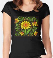 Flowers drawn in Ukrainian style Women's Fitted Scoop T-Shirt