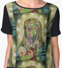 Blessed Reptilian Virgin and Child Women's Chiffon Top