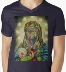 Blessed Reptilian Virgin and Child Men's V-Neck T-Shirt