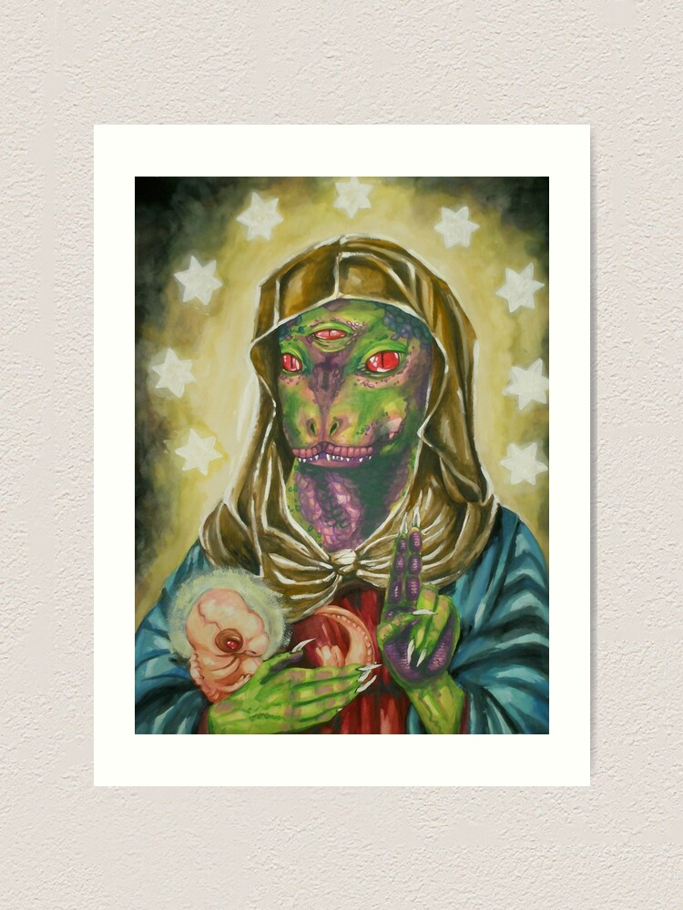 Alternate view of Blessed Reptilian Virgin and Child Art Print