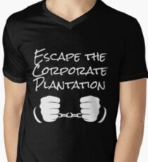 Escape The Corporate Plantation - White Print Men's V-Neck T-Shirt