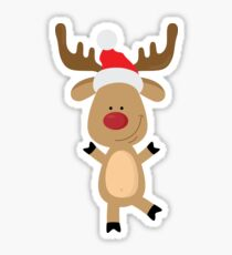 Dancing Rudolph Red Nosed Reindeer Merry Christmas Sticker