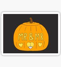 'Mr and Mr' Gay Halloween Pumpkin. Sticker