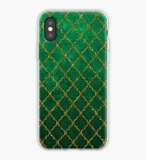Chic Green Gold Trendy Quatrefoil Glitter Print  iPhone Case