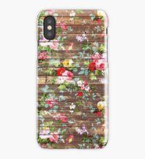 Elegant pink roses floral rustic brown wood iPhone Case/Skin