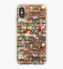 Elegant pink roses floral rustic brown wood iPhone Case