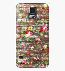Blumen-rustikales braunes Holz der eleganten rosa Rosen Hülle & Klebefolie für Samsung Galaxy