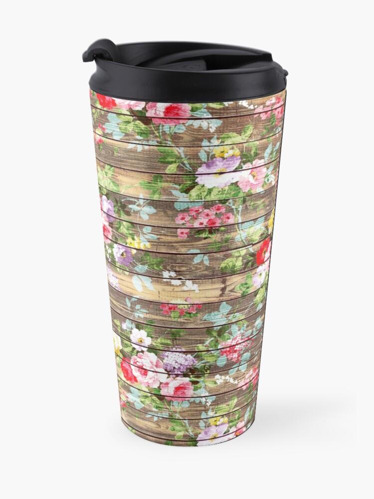Alternative Ansicht von Blumen-rustikales braunes Holz der eleganten rosa Rosen Thermobecher