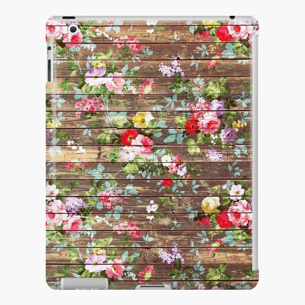 Elegantes rosas rosadas florales rústicas de madera marrón Funda y vinilo para iPad