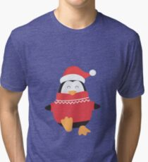 Little Penguin in Ugly Christmas Sweaters Tri-blend T-Shirt