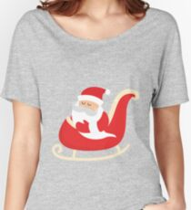 Merry Christmas Santa Claus Flying in his Sleigh Women's Relaxed Fit T-Shirt