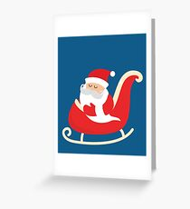 Merry Christmas Santa Claus Flying in his Sleigh Greeting Card