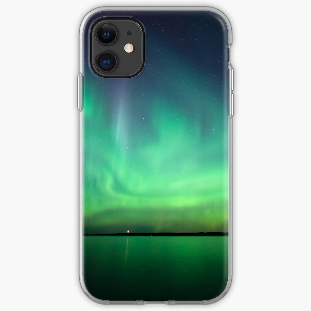 Northern lights over lake iPhone Case & Cover